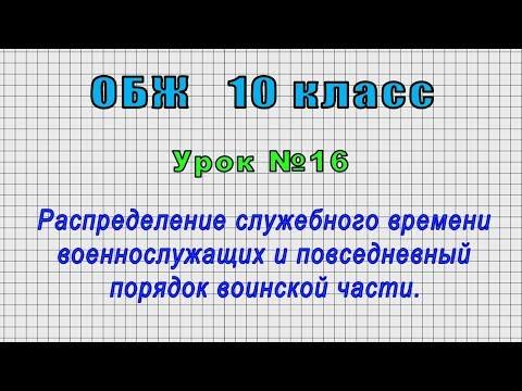 ОБЖ 10 класс (Урок№16 - Распределение служебного времени военнослужащих и повседневный порядок.)