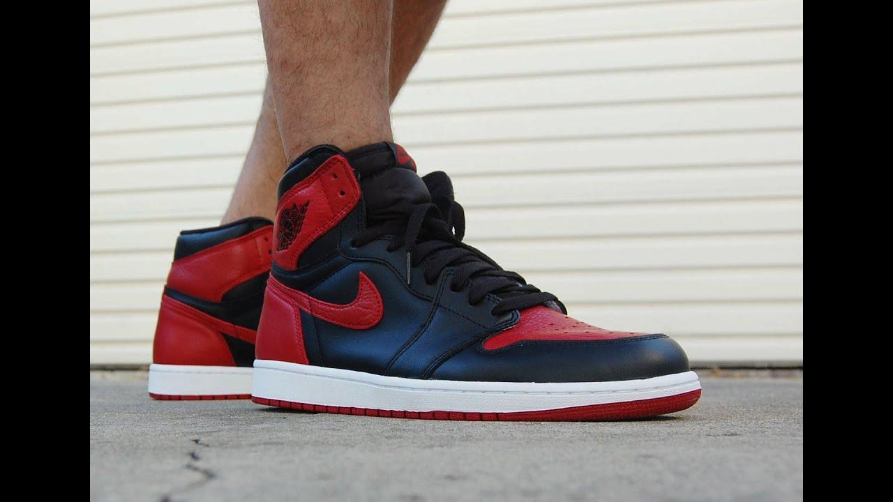 0ae3c0d1a0bc Air Jordan 1 High OG Banned Bred 2016 On Feet - YouTube