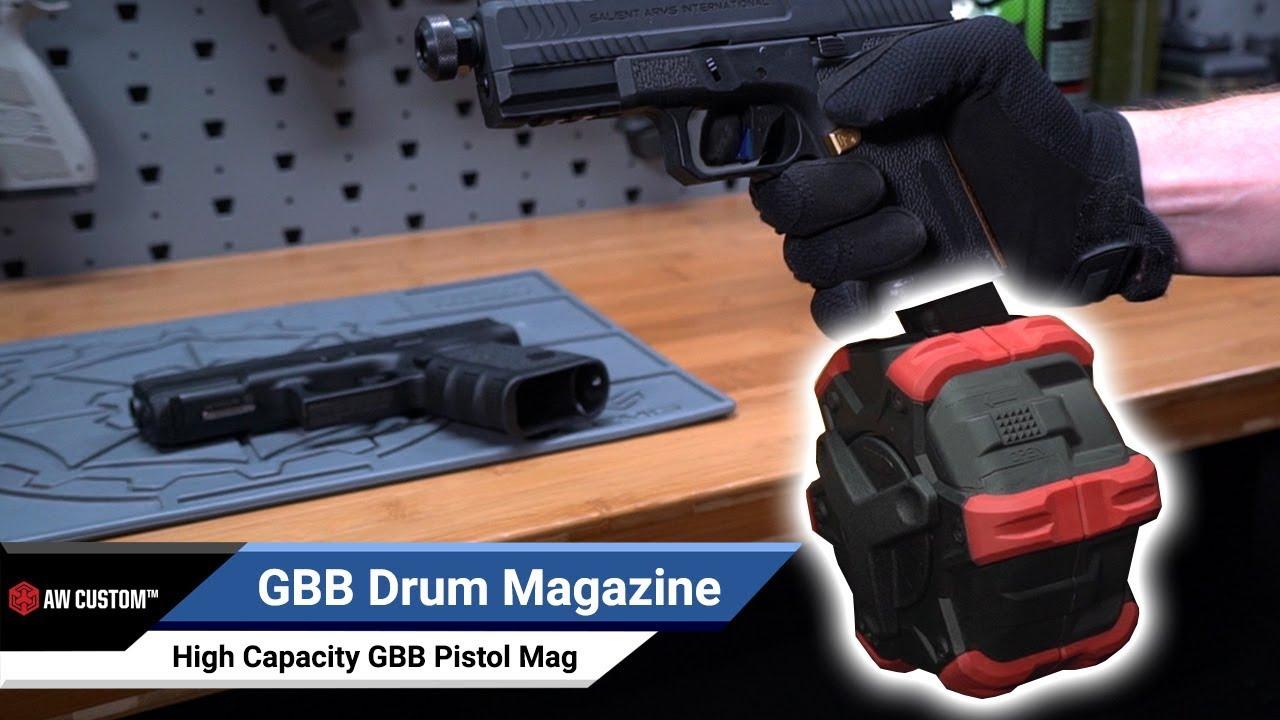 AW Custom Drum Magazine for Gas Blowback Airsoft Pistols & Rifles (Type:  SAI BLU / TM G-Series / Elite Force GLOCK / Red)
