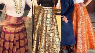 Brocade fabric skirt design ideas/beautiful silk lehenga design ideas for wedding season