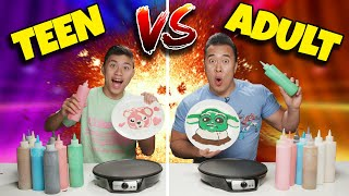 TEEN vs. ADULT PANCAKE ART CHALLENGE! How to Make Baby Yoda! Instagram Decides Winner -Polar Plunge!