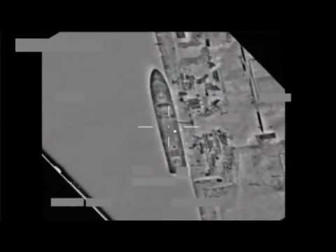 Ship hit by Missile launched from NATO warplane in Libya viewed by HUD Heads up Display Video