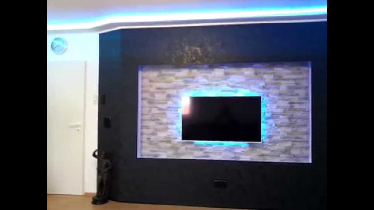 tv beamer wall with led lighting diy youtube. Black Bedroom Furniture Sets. Home Design Ideas