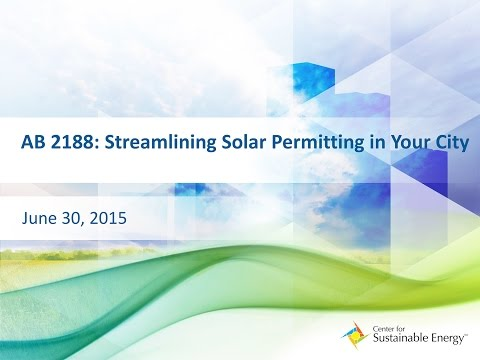 WEBINAR: June 30, 2015 - AB 2188 : Streamlining Solar Permitting in Your City