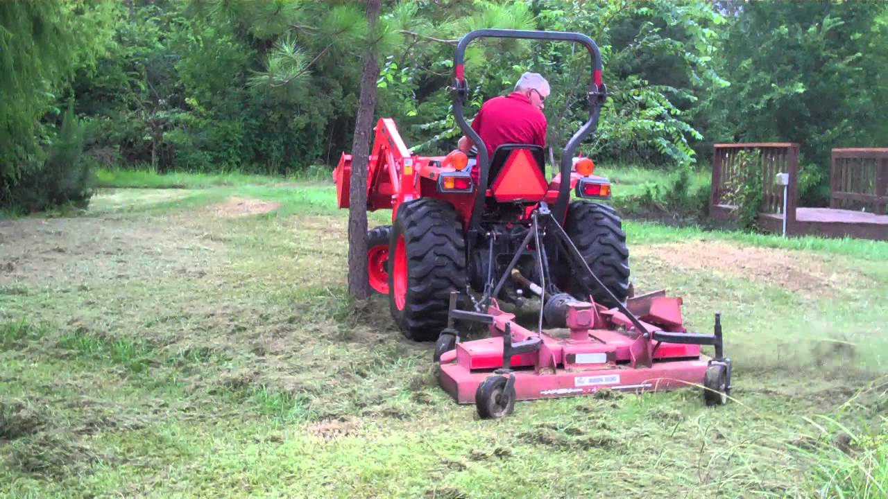 Mowing Around a Tree with Bush Hog and Kubota L3400 Tractor