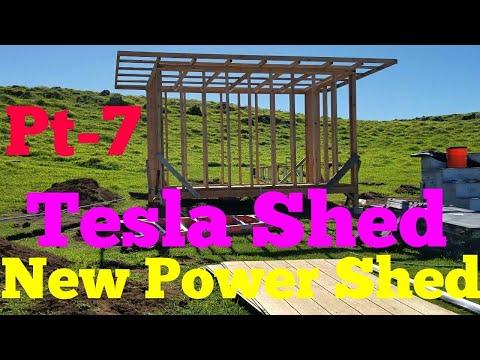 New DIY Solar Off Grid Tesla Power Shed Building Pt-7