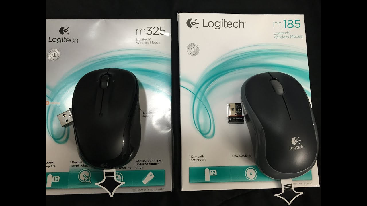 Logitech M185 and M325 Wireless Mouse Unboxing and Comparison