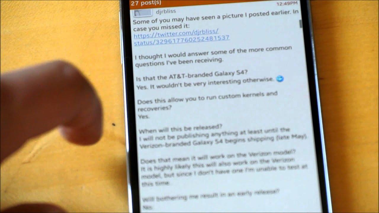 AT&T and Verizon Samsung Galaxy S4 Bootloader Unlocked