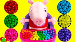 Best Colors Learning Toy Video For Kids Peppa Pig Color Gumballs and Surprises