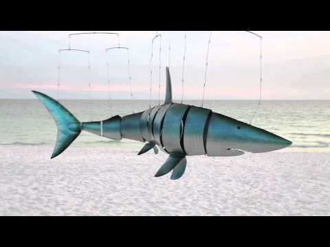 Recycled Metal Shark Mobile Art-Wind & Weather