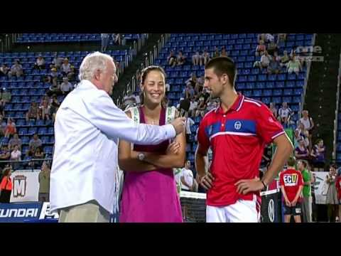 2011 Hopman Cup 1st Match Ivanovic & Djokovic Interview