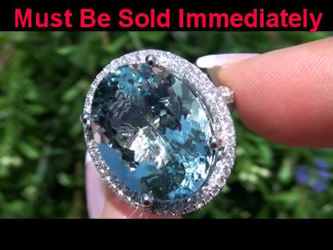 Extra Large Gia Certified Blue Aquamarine Amp Diamond Solid