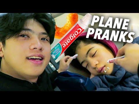 PLANE PRANKS ON SISTER!! (toothpaste) | Ranz and Niana