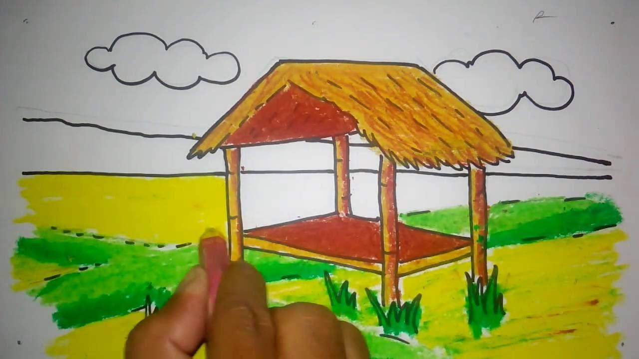 cara menggambar gubug di sawah  YouTube
