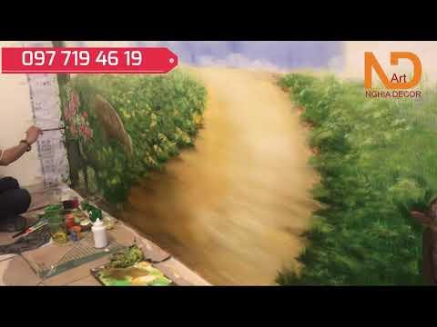 Vẽ Tranh Tường, Vẽ tranh Phong Cảnh, Giai đoạn vẽ từ a đến z, gia đình nghệ thuật Nghia decor art