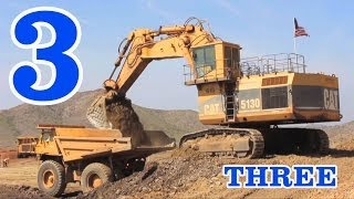 Excavators & Dump Trucks Teaching Numbers 1 to 10 - Learning to Count for Kids