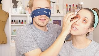 HUSBAND DOES MY MAKEUP BLINDFOLDED!