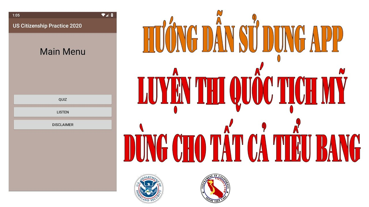Hướng dẫn sử dụng app Luyện thi quốc tịch Mỹ