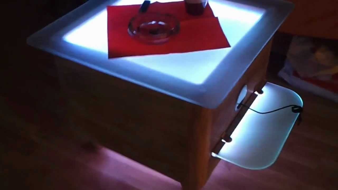 led tisch mit glaskantenbeleuchtung selfmade youtube. Black Bedroom Furniture Sets. Home Design Ideas