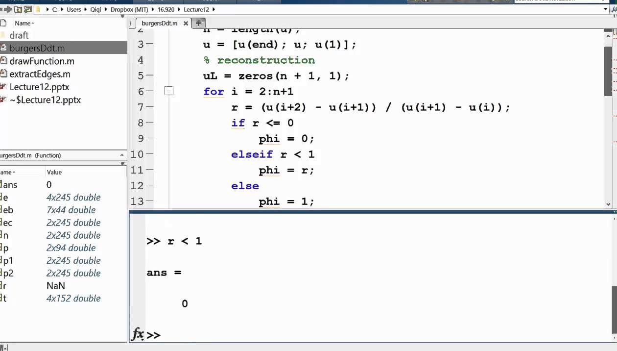 MIT Numerical Methods for PDEs Lecture 12: Flux Limiter Demo