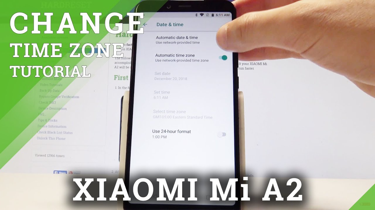 How to Set Up Date & Time Settings in XIAOMI Mi A2 - Change Time Zone