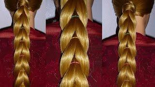 видео Коса из хвостиков с резинками - схема плетения. Прически с резинками на длинные волосы