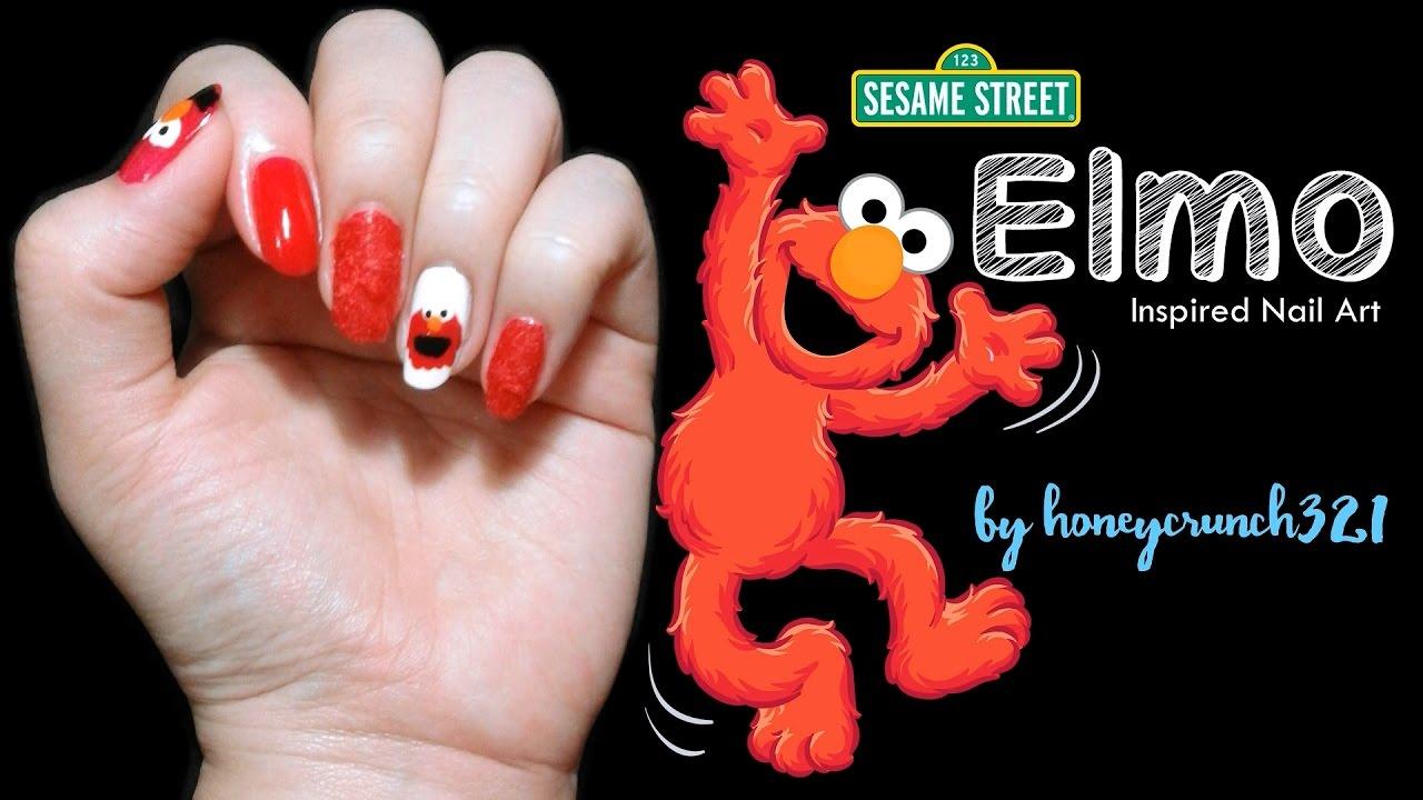 Sesame Street Elmo Inspired Nail Art Honeycrunch321 Youtube