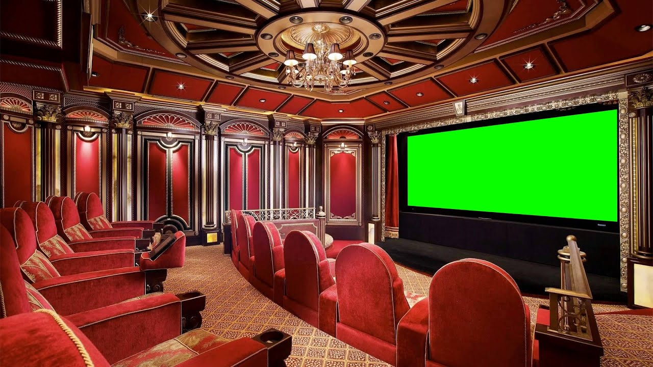 luxury home theater in green screen free stock footage ...