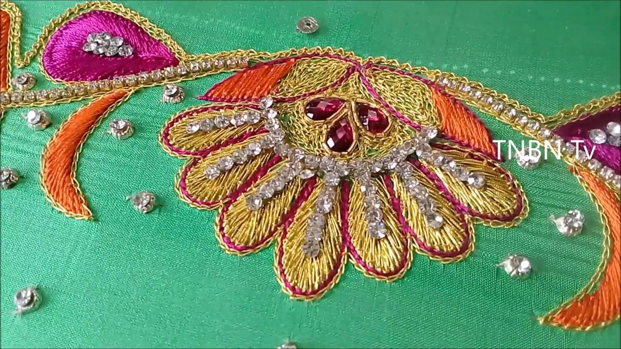 Simple maggam work blouse designs embroidery