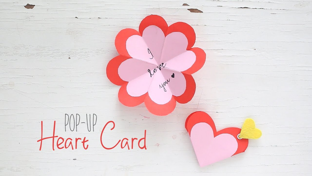 diy popup heart card  youtube