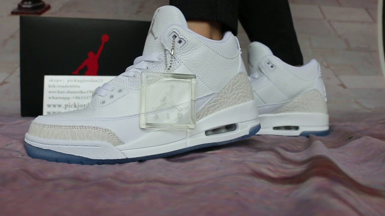 8ef5c74c359 Air Jordan 3 Triple White On Feet HD Show