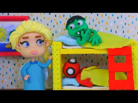 SUPERHERO BABIES GO TO BED ❤ Spiderman, Hulk & Frozen Elsa Play Doh Cartoons For Kids
