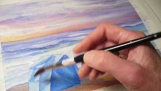 Watercolor Seascape Painting Demonstration of Florida Delray Beach at Dawn by Janet Zeh Original Art