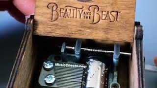 Handmade Wooden Beauty and the Beast Music Box by Music Chests