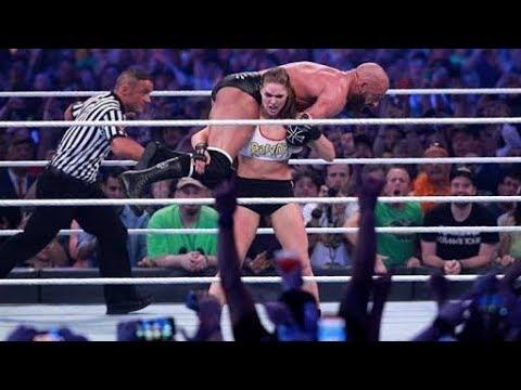 Ronda Rousey & Kurt Angle vs Triple H & Stephanie McMahon full match in WrestleMania34 April 8 2018