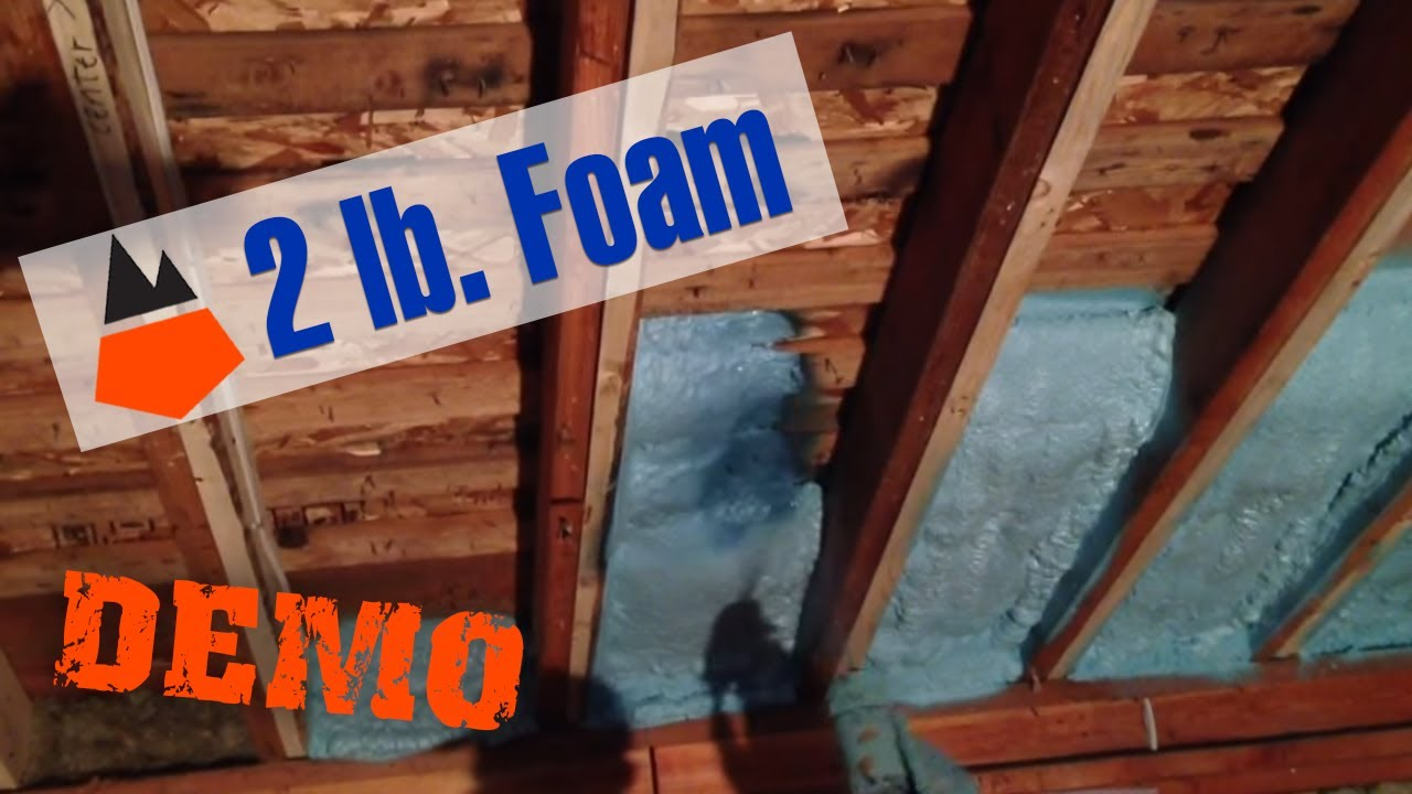 DOW 2lb spray foam on basement ceiling - YouTube