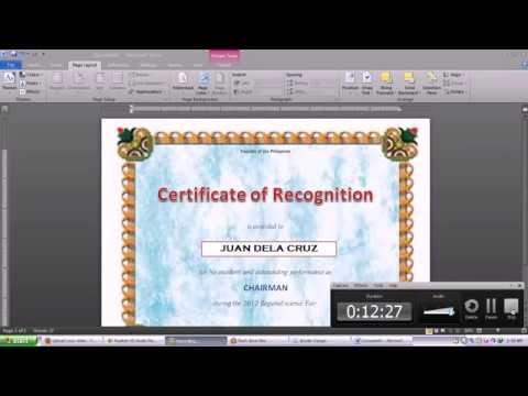 making certificate using Microsoft word 2010