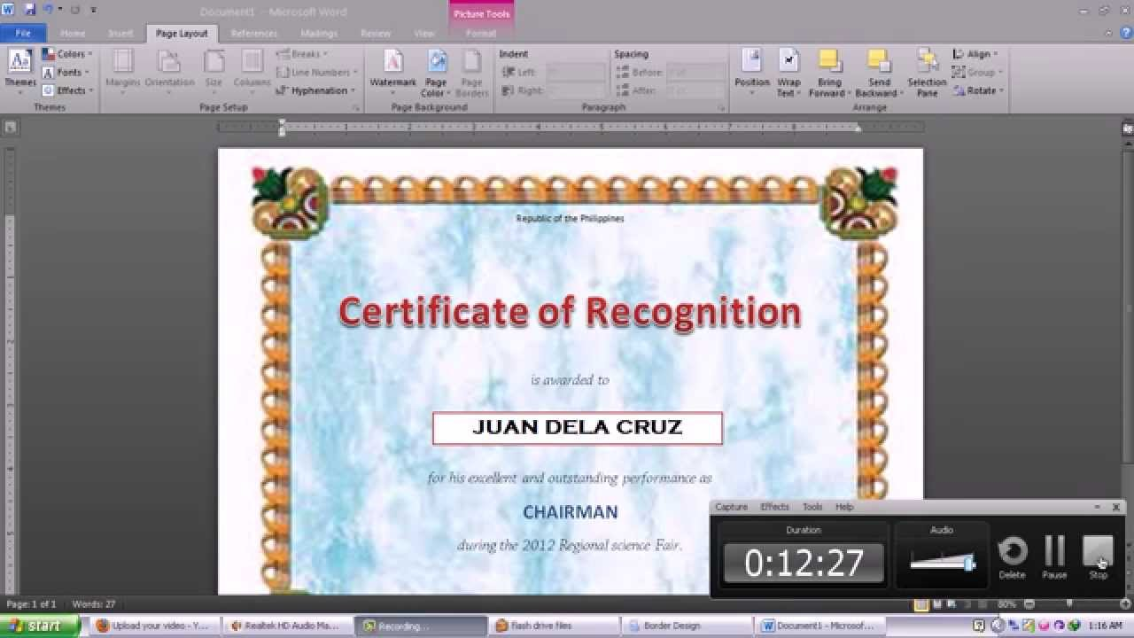 Making Certificate Using Microsoft Word 2010   YouTube  Certificate In Word