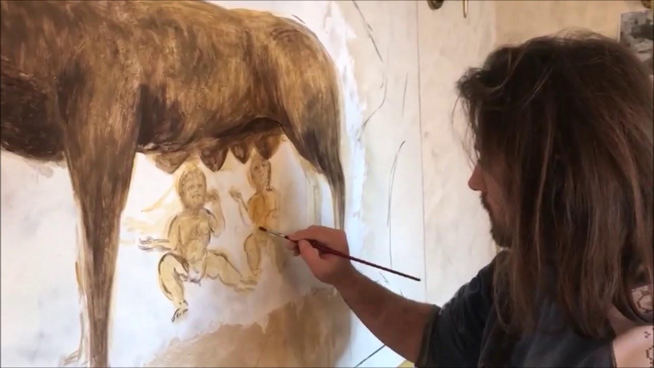 Comment réaliser une fresque murale à la chaux, Romulus et Remus