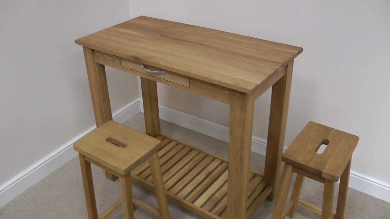 & Tutbury oak breakfast bar table stool set - YouTube