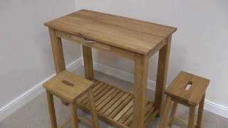 Tutbury Oak Breakfast Bar Table Stool Set