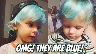 TWIN TODDLERS DYE HAIR BLUE!