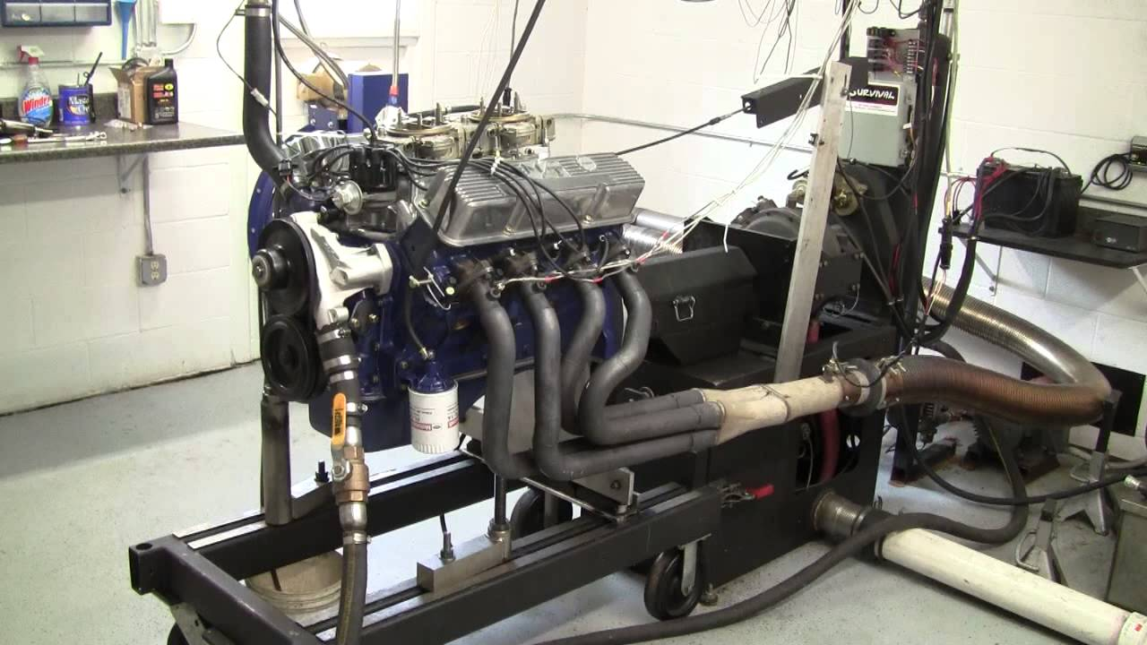 Ford 390 FE on dyno, stock stroke and heads -393HP