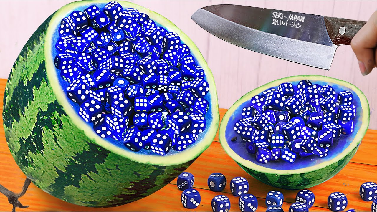 Stop Motion Animation & Cooking ASMR - Making JELLY from Random Dice and Sugar Baby Watermelon
