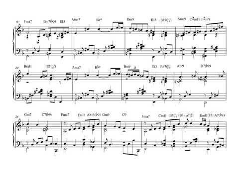 Polka dots and Moonbeams.  Arranged for solo jazz piano, with music sheet