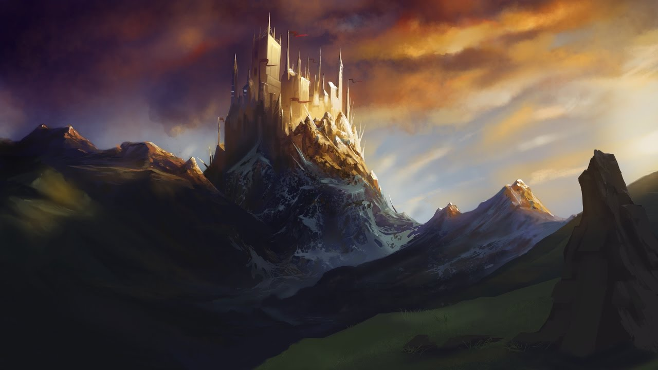 Fantasy Landscape castle speedpaint - YouTube