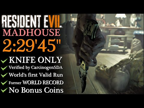 """【Resident Evil 7】KNIFE ONLY/MADHOUSE 2:29'45"""" WORLD RECORD  (No commentary)"""