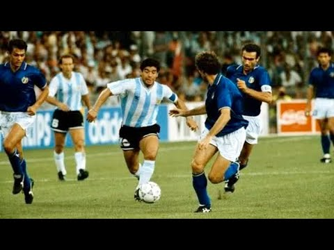 Injured Diego Maradona vs Italy - World Cup Semi Final 1990 ● The GOAT
