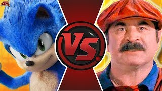 SONIC MOVIE vs MARIO MOVIE! (Super Mario vs Sonic the Hedgehog Movie) Cartoon Fight Club Episode 351