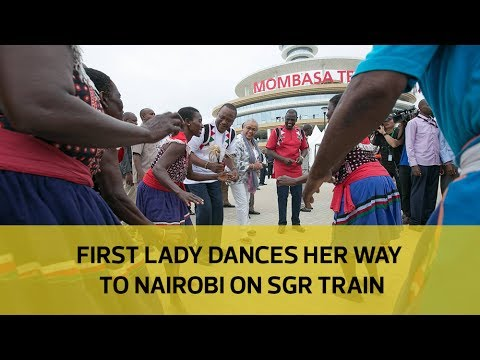 First Lady dances her way to Nairobi on SGR train